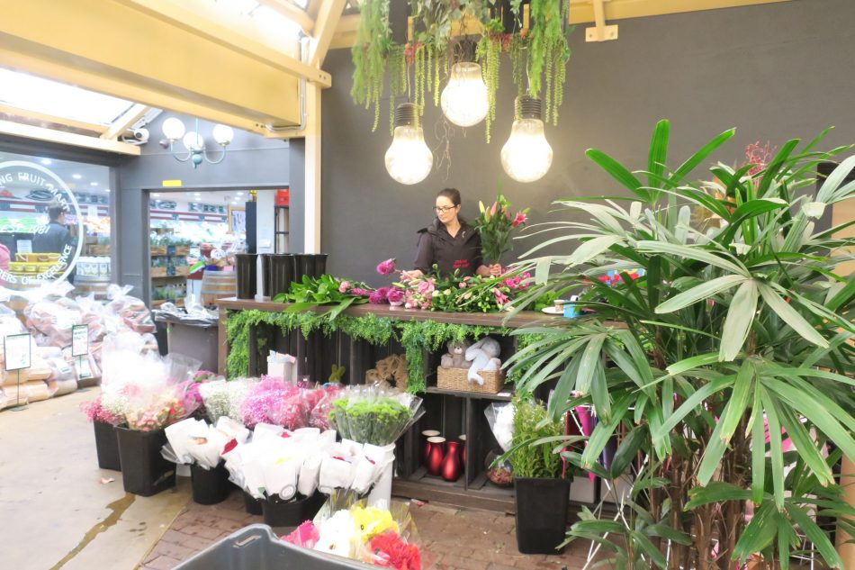 Amy working on her floral arrangements