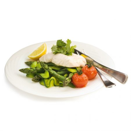 Steamed Fish with Zucchini Ribbon Salad