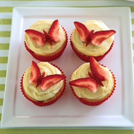 Strawberry Butterfly Cupcakes