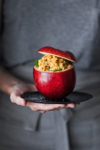 Red Apple Day - Stuffed Apples w chickpea salad smp
