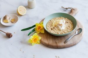 Lemon Ginger Overnight Oats with Turmeric