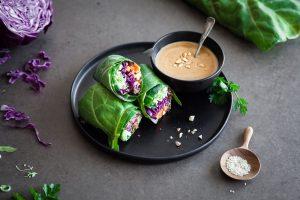 Silverbeet Wraps with Peanut Sauce (2) SM